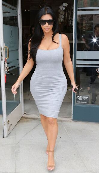 dress bodycon grey kim kardashian sandals summer dress summer outfits