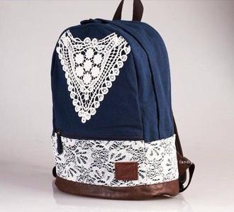 bag navy crochet trims