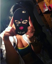 phone cover,girly,iphone cover,iphone,black,mask,thug life