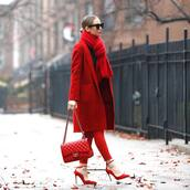 bag,chanel bag,red heels,pumps,pants,scarf,black top