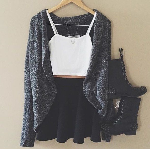 cardigan white black skirt top grey tumblr outfit