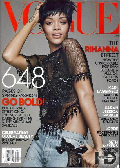 rihanna black vogue short hair jeans magazine sparkles shirt lace hippie