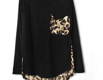 Black leopard print chiffon loose l..
