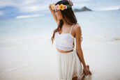 tank top,crochet,crop tops,white,boho,beach,hat,skirt
