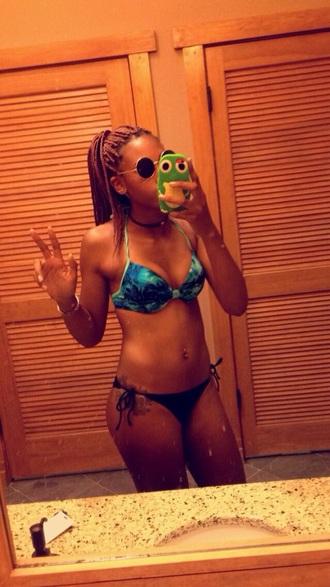 swimwear blue swimwear black bikini hippie glasses boho choker