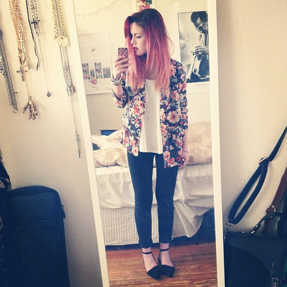 shoes floral top jacket