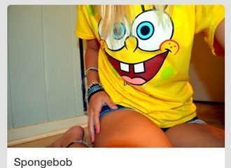 shirt spongebob shirt yellow shirt nickalodeon bikini bottom summer spongebob spongebob and patrick yellow top