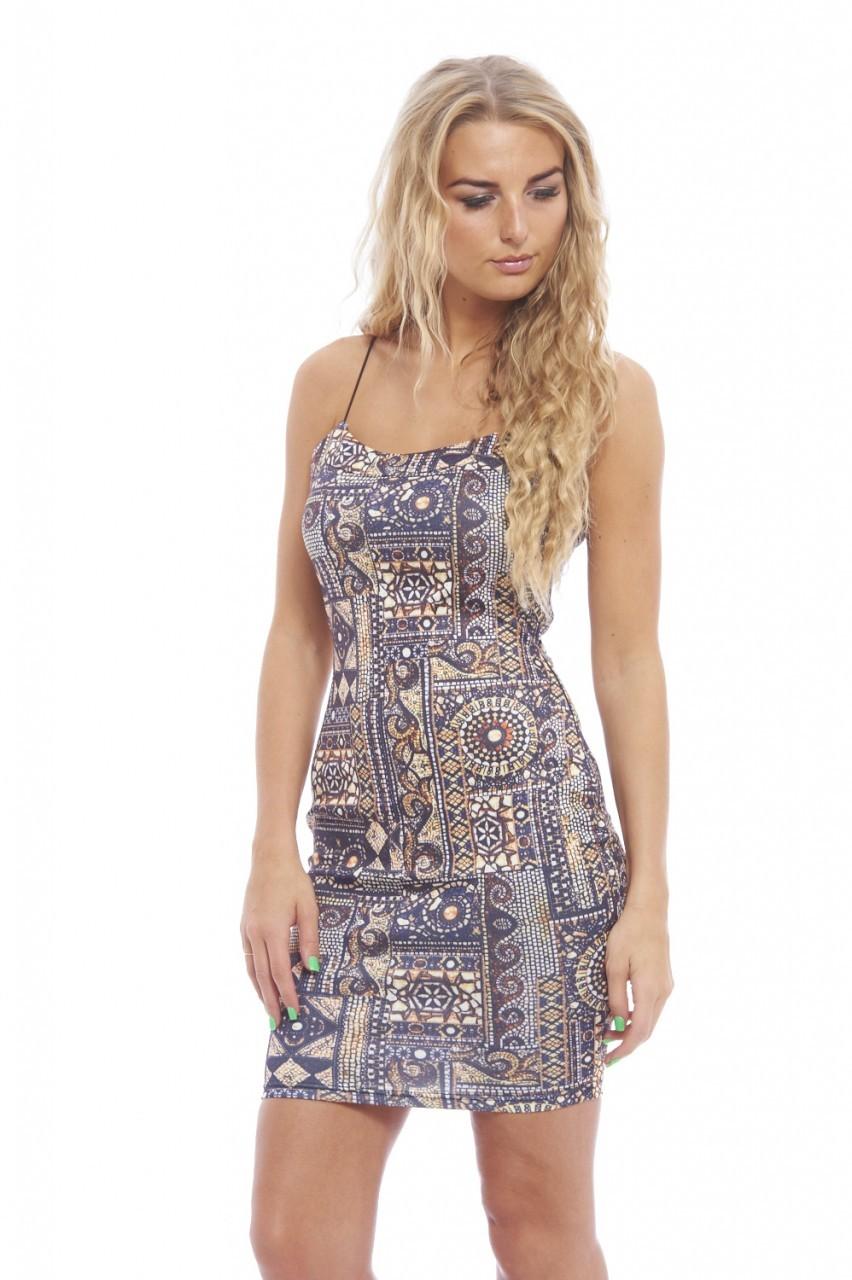 Multi Color Print String Strap Bodycon Dress