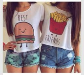 shirt,t-shirt,top,burger and fries top,best friends top,best friend shirts,white t-shirt,white top,hamburger,fries,bff,cute,burger and french fries shirt,bestfriend shirt,tank top,burger and fries best friends shirt rt,blouse,burger and fries bff crop tank top,shorts,best friends burger and fries,best,friends,same color as pic,matching shirts for best friends,white,best friend shirts burger and fries