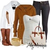 jacket,aly monique,outfit,white coat,boots,jeans,tank top,bag,sweater
