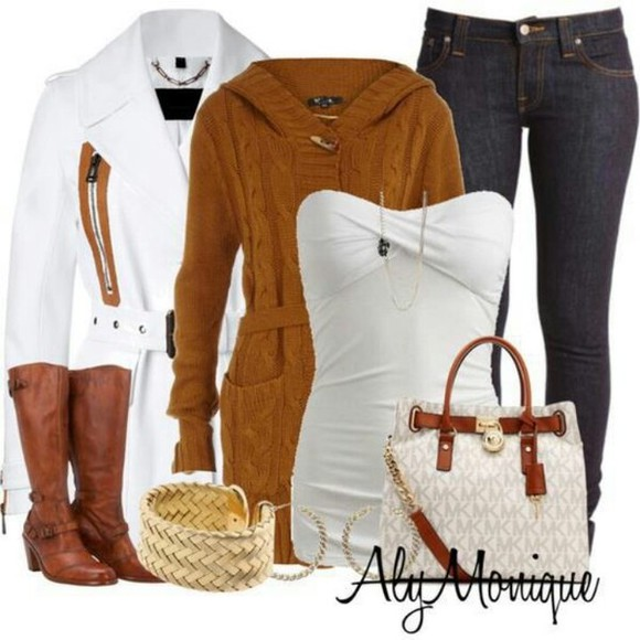 sweater aly monique bag jeans jacket outfit white coat boots tank top