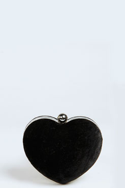 Kate Heart Shape Velvet Clutch at boohoo.com
