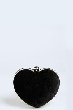 Kate Heart Shape Velvet Clutch at boohoo.com