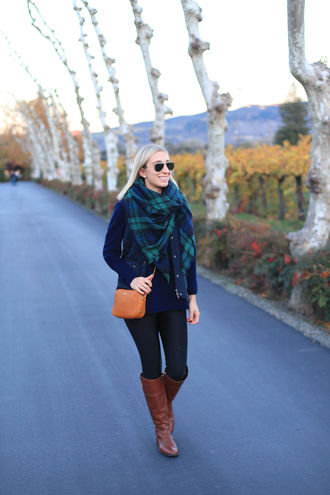 lemon stripes blogger tartan scarf brown leather boots