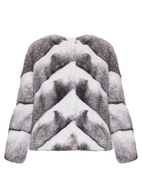 LILLY e VIOLETTA jacket fur jacket fur chevron white black