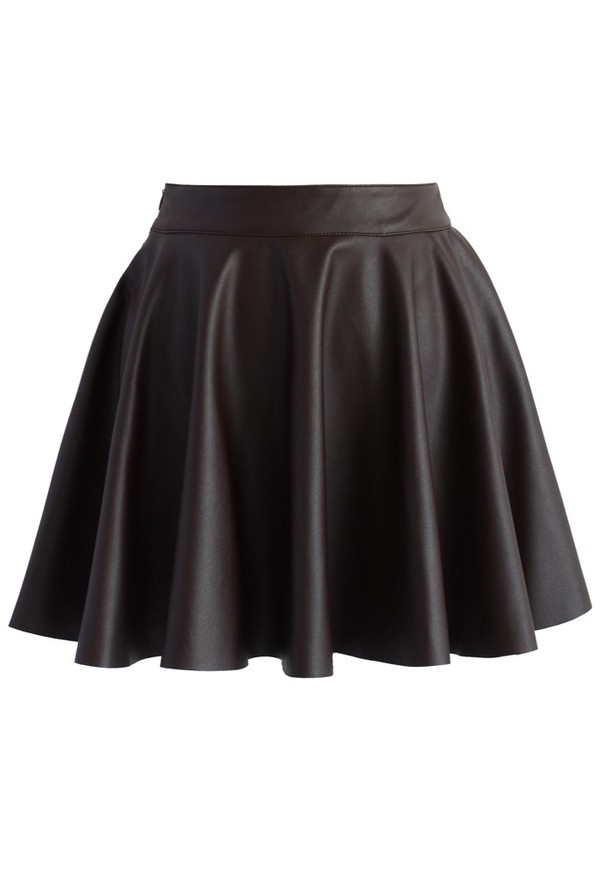 chicwish soft pleats faux leather skirt