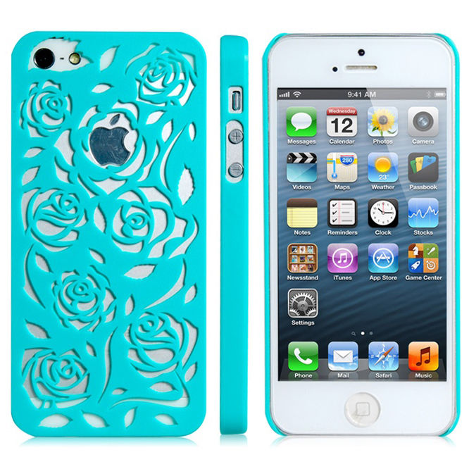 Green Cut Out Flower Design Plastic Skin Case Cover For