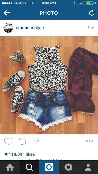 top floral daisy floral top shorts denim shorts denim shirt summer ripped shorts cute outfits crop tops