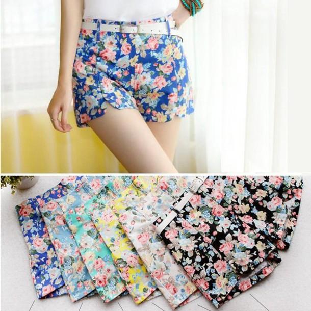 shorts High waisted shorts printed shorts floral print shorts floral print high-waisted shorts