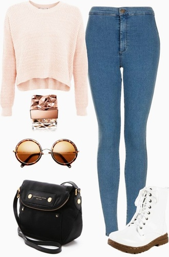 blouse cardigan orange top brown sunglasses white shoes
