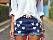 shorts,blouse,diy,jeans,dark blue jeans,heart,white hearts,fantasy shorts