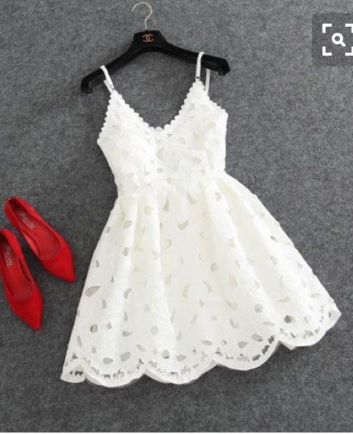 White Graduation Dresses with Belt