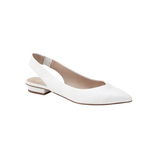 Banana Republic Women's Pointy-Toe Slingback Flat White Leather Regular Size 6 1/2