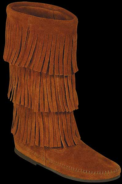 Suede fringe calf boot by minnetonka moccasin