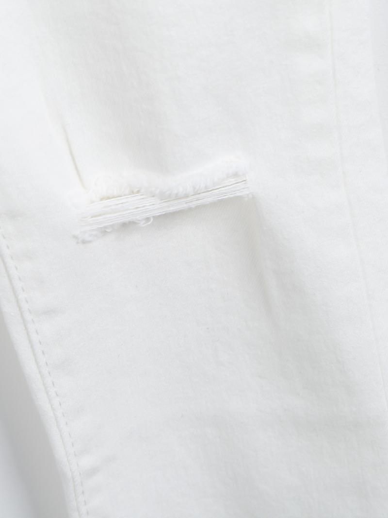 White slim ripped pockets denim pant