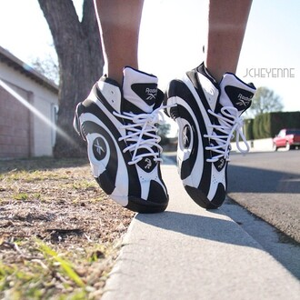 shoes black and white reebok sneakers