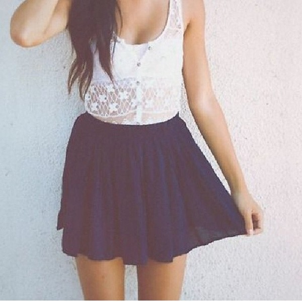 skirt shirt white crochet top instagram cute summer button up