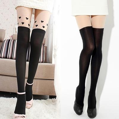 envío gratis 2014 nueva moda medias de las mujeres amantes de la novedad delgada mostrar corazón negro flaco en de en Aliexpress.com