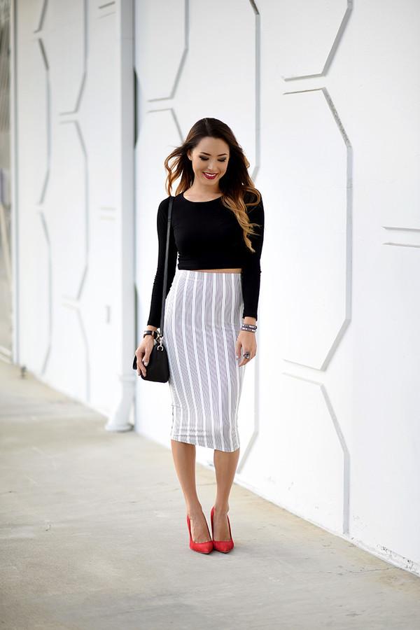 Top: hapa time, blogger, striped skirt, pencil skirt, grey skirt ...