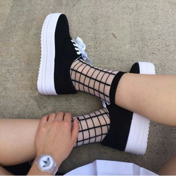 socks aesthetic grunge cute socks shoes black white platform shoes cool teenagers sneakers tumblr weheartit black and white holographic transparent pale grunge