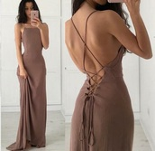 dress,boho dress,nude dress,maxi dress,summer dress,brown dress,gorgeous,prom,brown,straps,formal,lace up dress,open back dresses,strappy dress,tan,prom dress,tight dresss,beige dress,criss cross back,backless dress,long dress,simple dress,halter top
