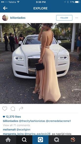 dress beige nude cream formal prom long slit pretty heels