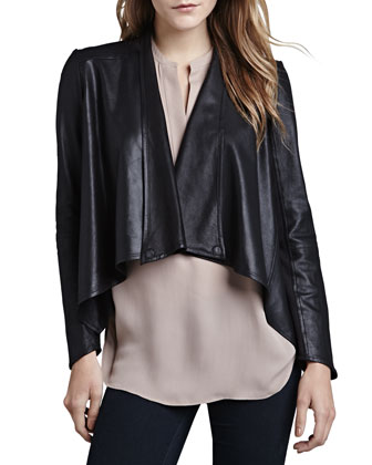 LaMarque Cropped Leather Drape Jacket - Neiman Marcus