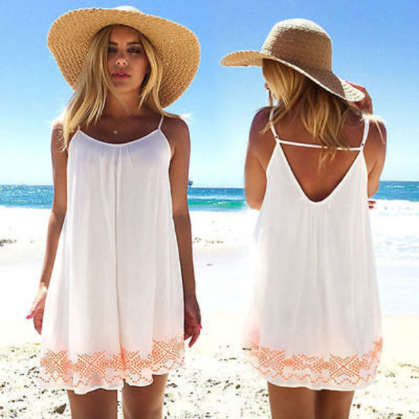 White vacation dresses