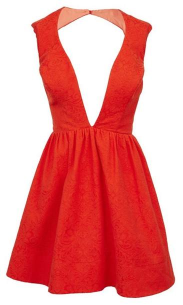 dress red dress v cut neck dress backless dress