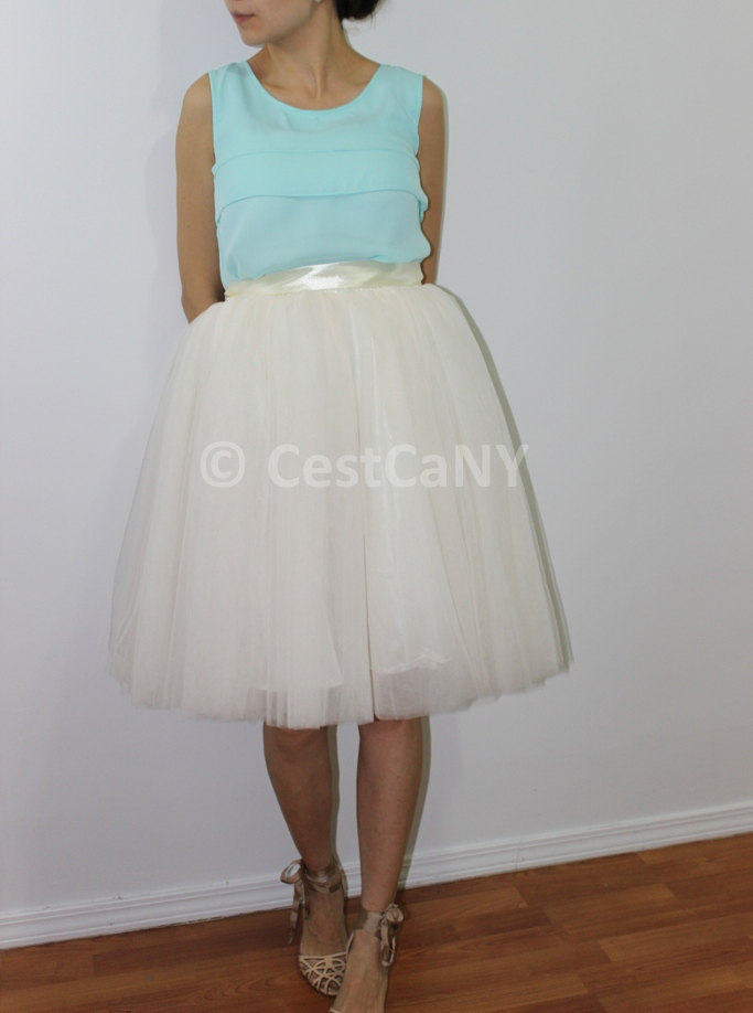 Cassie Tulle Skirt in Ivory, Layered Puffy Princess Tutu in Champagne / Knee-Length Tutu - Length 23.5