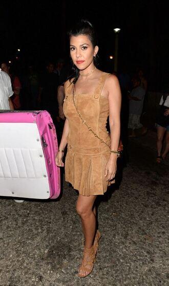 dress suede suede skirt kourtney kardashian camel sandals kardashians keeping up with the kardashians summer dress summer outfits