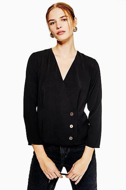TopShop Gold Button Wrap Blouse - Black