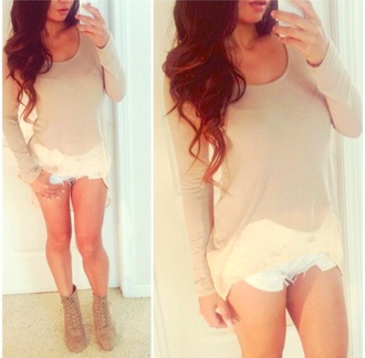 blouse blogger short bloggers do it better bloggerstyle topshop top boots boots with laces shorts long sleeves sheer