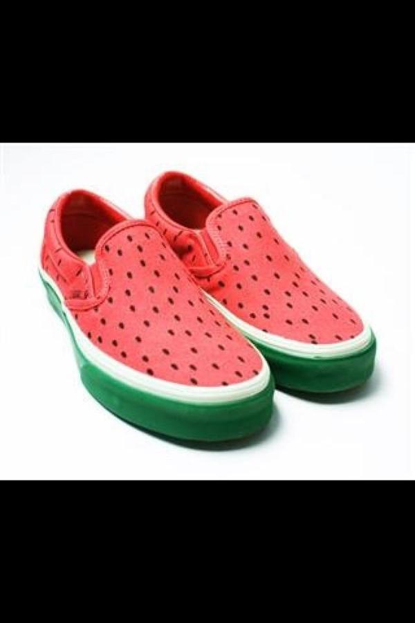 shoes vans sneakers watermelon print red green cute high heels printed vans
