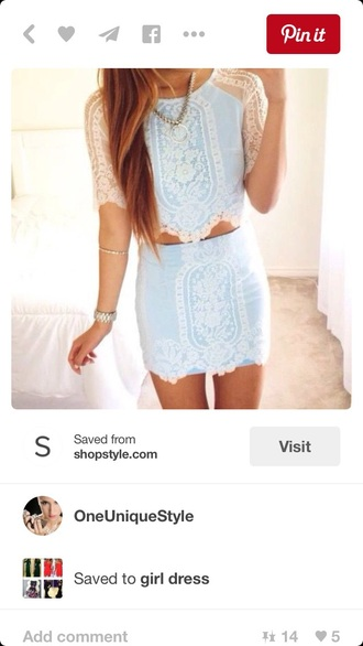 dress two-piece outfit crop crop tops lace top lace skirt skirt blue shirt summer top blue skirt
