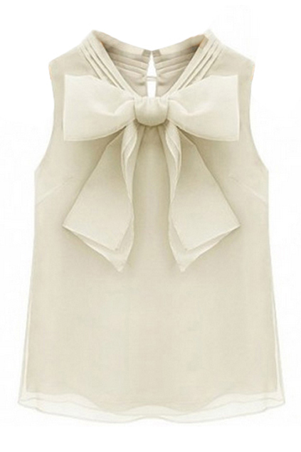 ROMWE | ROMWE Bowknot Shaped Sleeveless Mesh Cream Blouse, The Latest Street Fashion