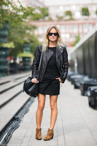 shoes sunglasses black dress leather jacket animal print ankle boots blogger