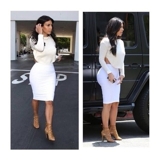 blouse white blouse kim kardashian white bodycon midi dress dress top skirt kim kardshian