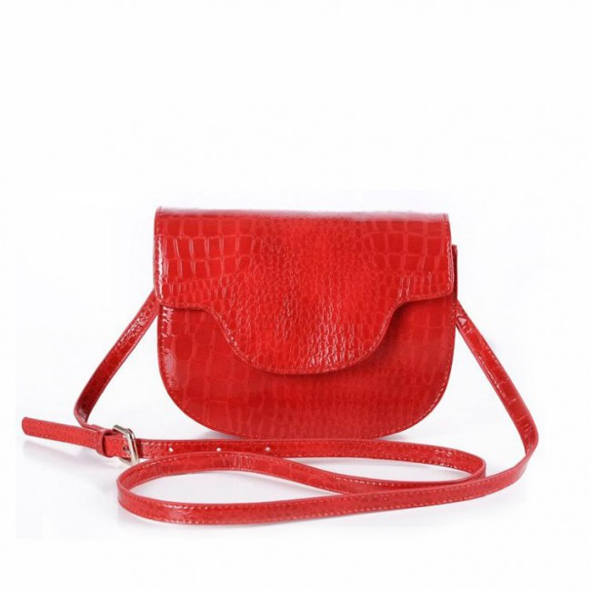 Red Pebbled PU Leather Bag