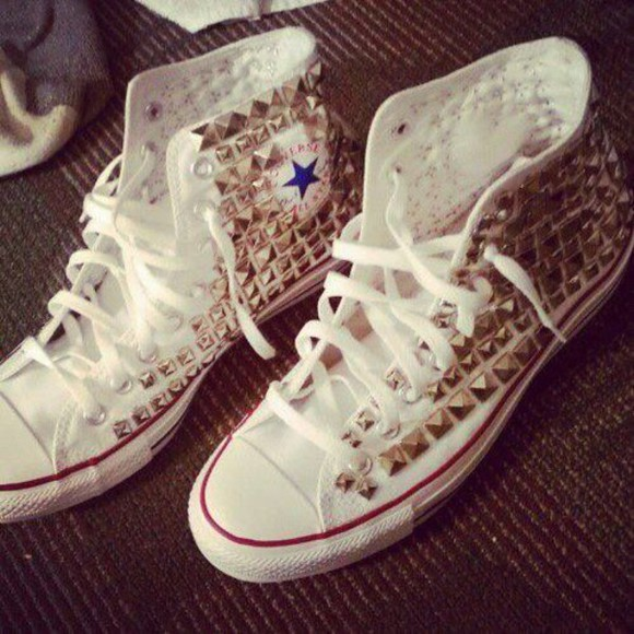 shoes gold studs studded shoes converse converse all star converse shoes white gold studs